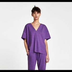 ZARA OVERSIZED VIOLET BOXY TOP